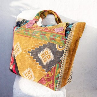 Christmas gift ideas Sew yarn Li Bu side backpack / shoulder bag embroidery / embroidery shoulder bag / hand-stitched saris line side backpack / backpack stitching yarn Li Bu - forest flowers + Desert totem (limit one)
