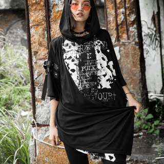 Skeleton Cross Hooded Long T-shirt black