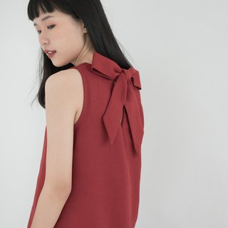 Red Berry Big Bow Linen Dress
