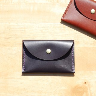 Handy business card holder / purse - round leather hand-stitched (dark)