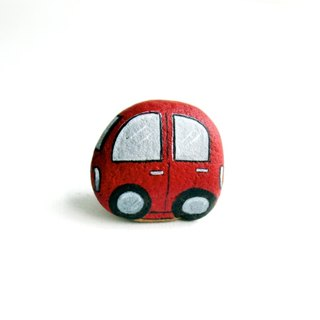 Red car stone painting.