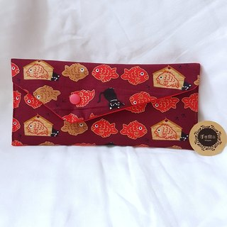 Zipper Style / Cloth Bag / Cat & Catfish (Red)