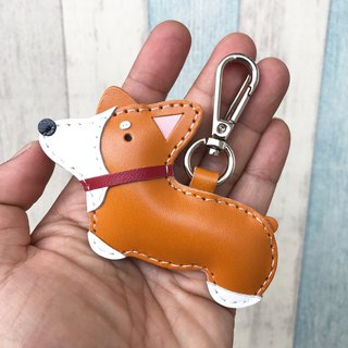 25% off Handmade Leather Orange Corgi Dog Hand Sewn Leather Keychain Small Size