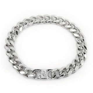 "[METALIZE]""M"" Tag Metal Bracelet Radiant M-squared Two-tone Metal Bracelet (Platinum)"