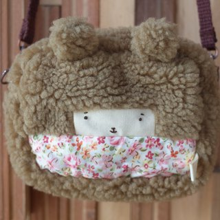 Small rabbit small bag - spring pink flower - coffee hair