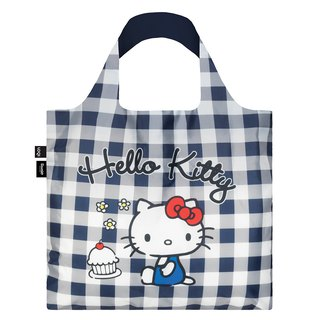 LOQI Shopping Bag - Sanrio License (Hello Kitty Blue and White Plaid KT14)