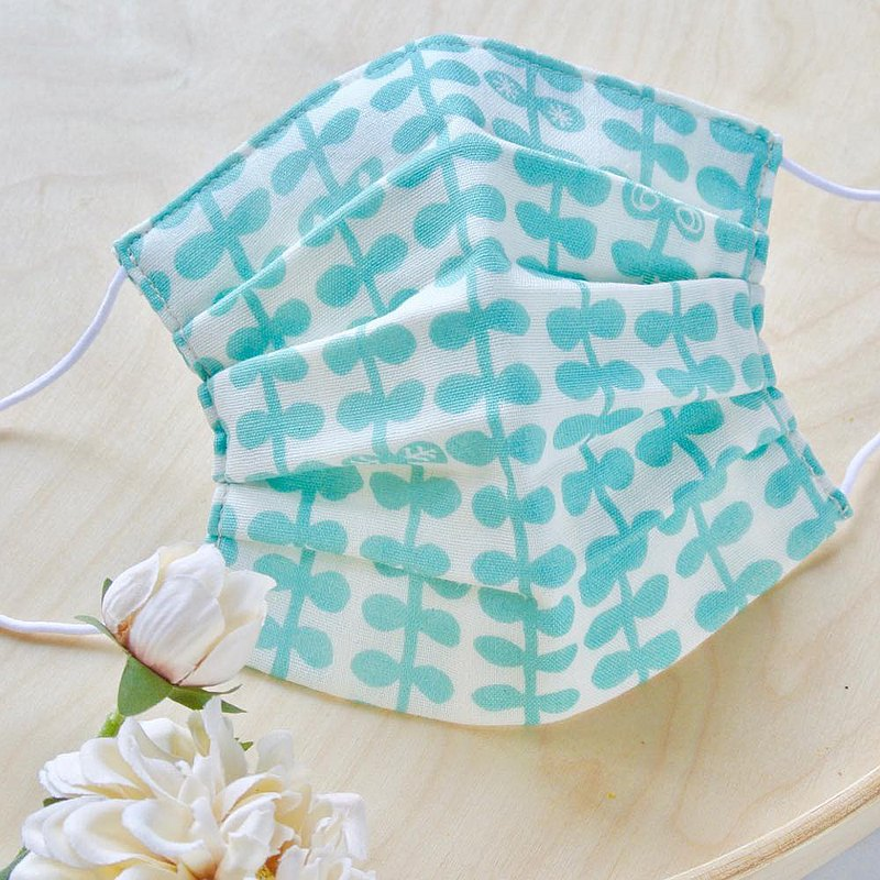 抗菌跟防臭加工 手工立體口罩 可洗滌 日本製純棉 北欧 綠色 成人