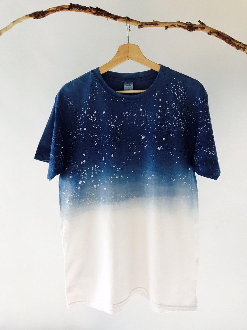 自在染isvara 手工藍染 海洋系列   仰望星空  純棉T-shirt