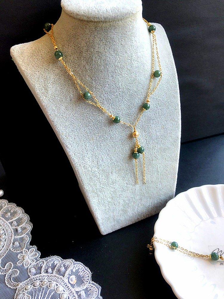 樂藏。輕珠寶||深綠雙鏈款 手鍊 項鍊 套組 翡翠 玉石 18包金 設計款手鍊 翡翠A貨 療癒能量水晶套組