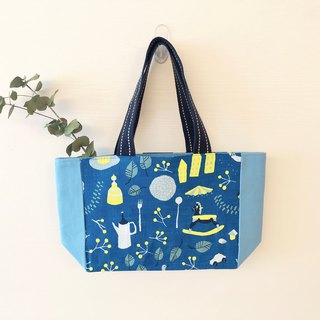 Color lunch bag / lunch bag / waterproof fabric material - blue grocery