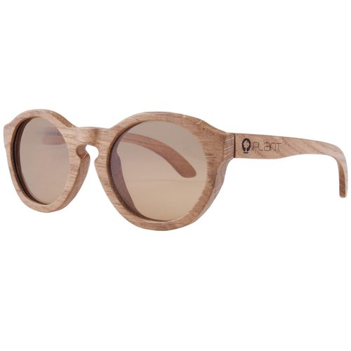 Plantwear European Handmade Solid Wood Sunglasses - Vintage Collection - Oak Solid Wood Frame + Cold Rin Brown Lens