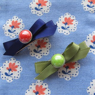 Button and Bow Hair Clip