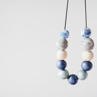 Wooden & Clay Blue & Grey Necklace-9