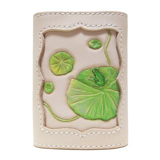 Marie / Mary Leather Made Leather Key Case / Frog and Lotus Leaf / Hand Dyed / Carving