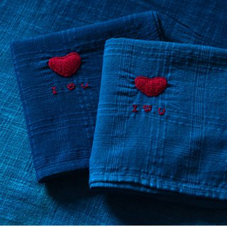 Long-lasting confession | various blue natural plants ancient law blue dyed embroidery love gift small square handkerchief