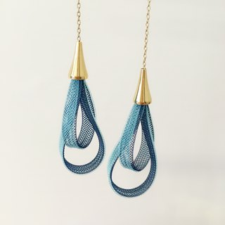 French handmade nylon ribbon earrings_海蓝