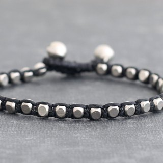 Men Unisex Silver Beads Woven Bracelets Cord Metal Braided Bracelets