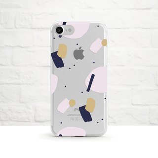 Shapes & Dots Collage Art Pattern, Clear Soft Phone Case, iPhone, Samsung