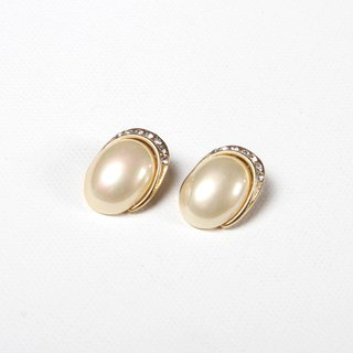 [Egg Plant Vintage]Monthly Pearl Retro Clip Antique Earrings