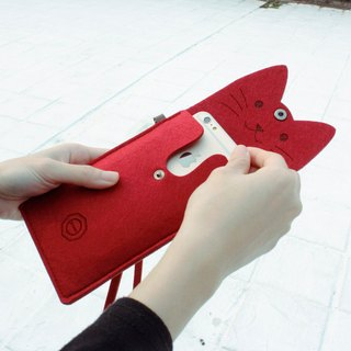 Open a cat - wool felt cat mobile phone case Portable package / with neck strap - Ruby red wine red cat