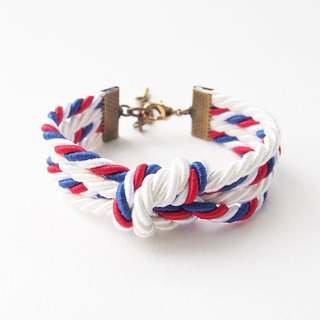 White/Tri-color double knot bracelet
