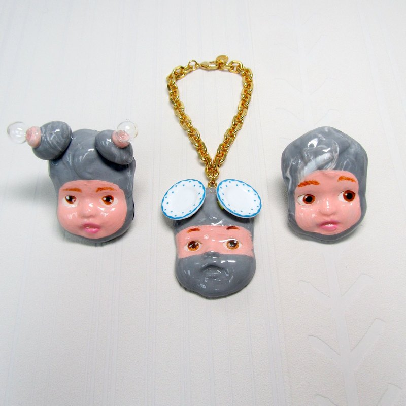 TIMBEE LO handmade doll face Ninja series bracelet imitation pottery clay POLY MERCLAY