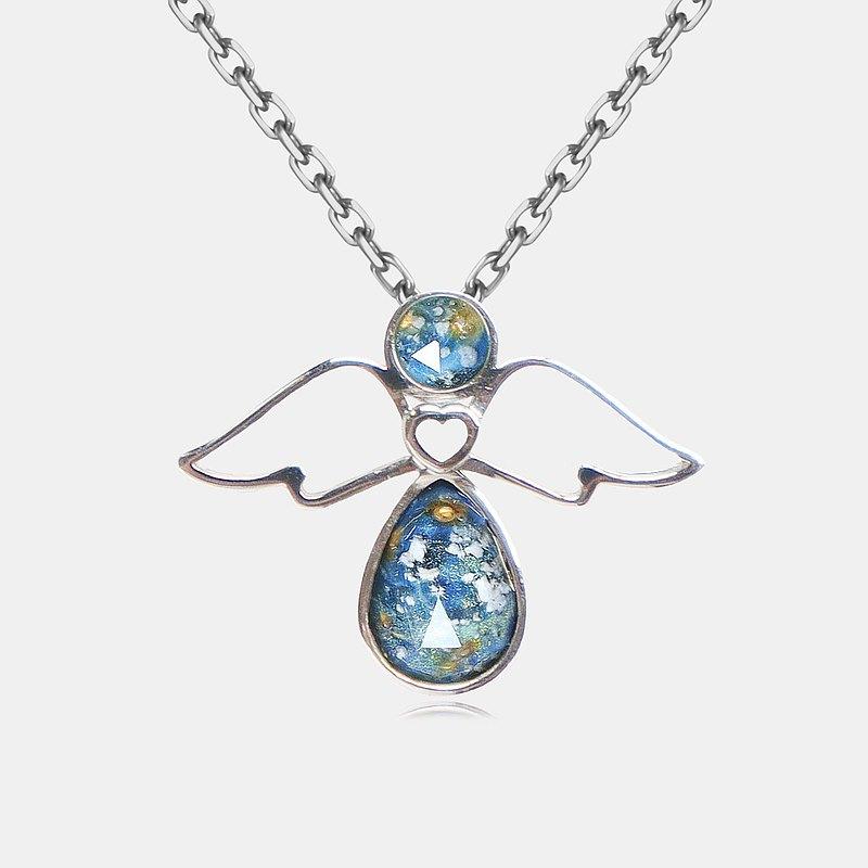 骨灰毛髮紀念玻璃 K金項鍊 - 天使造型吊墜 KNA02