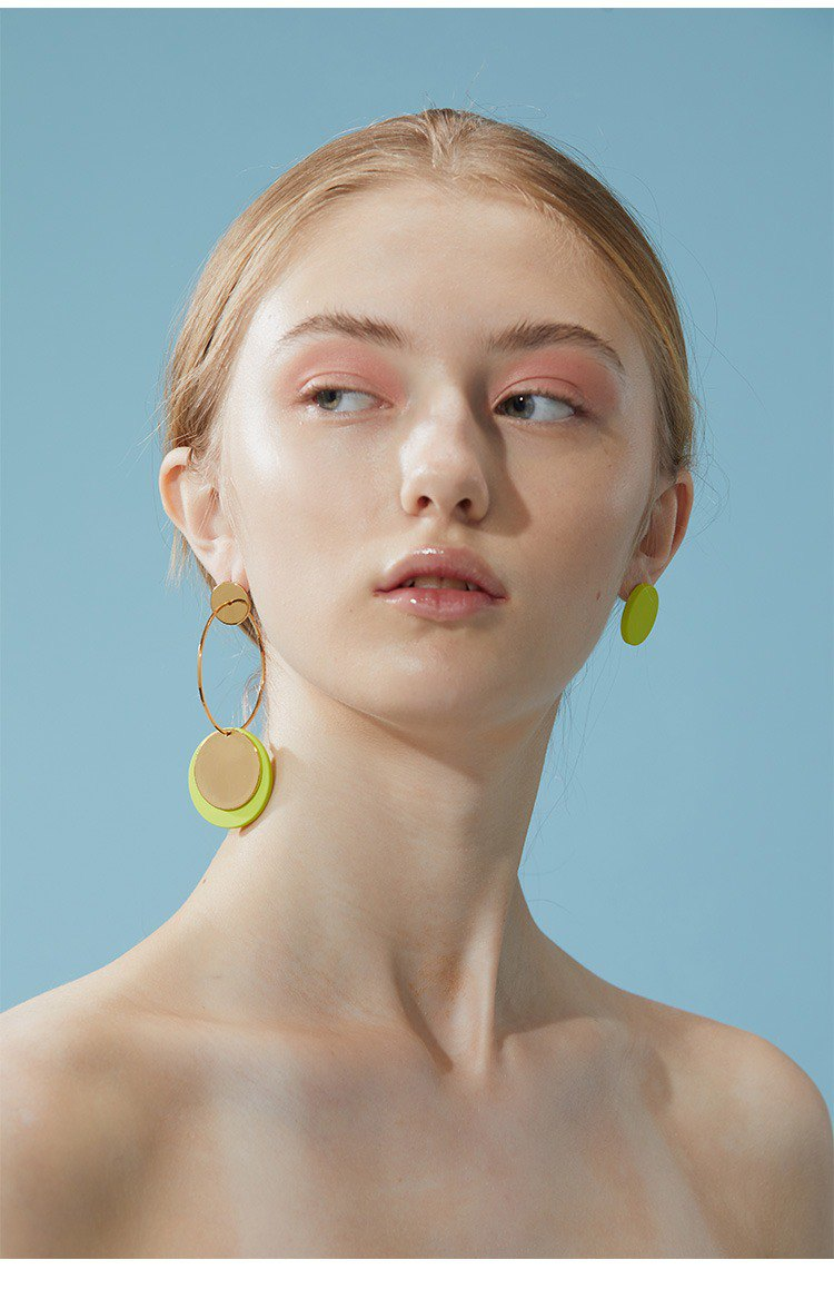 About July Yellow Green Bud Fashion Earrings Girl Geometry Stud Earrings 18K Gold Plated