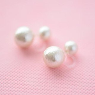 2way cotton pearl non hall pierced earrings  (8-12)