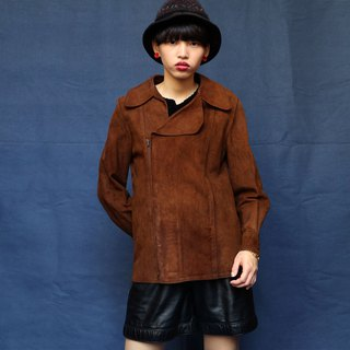 Pumpkin Vintage. Ancient leather coat