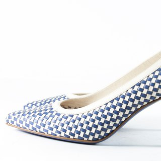 ITA BOTTEGA [Made in Italy] lake blue blue two-tone braided pointed heel