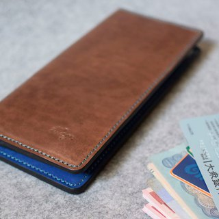 YOURS 6+ Multi-Card Pocket Long Leather + Blue Leather