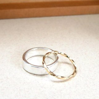 5mm Texture Ring - Silver + Fine Line Ring - Two Piece Set Silver Ring (18K Gold)