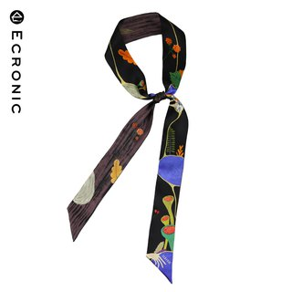 140*6cm original printing series black wild silk narrow scarf decoration gift ECRONIC