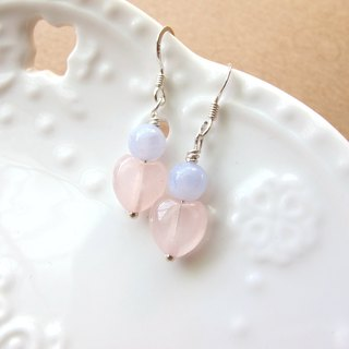 [Pink Heart Peach] Blue Agate x Pink Crystal x 925 Silver - Earrings