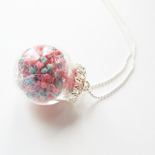 *Rosy Garden* Light blue and pink color baby's breath glass ball necklace