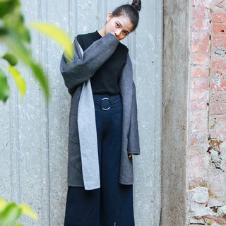 Gray / charcoal may be open-sided wear coat Kashimier