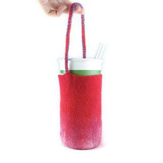 Handmade wool felt wet felt woven cup cover / beverage bag