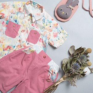 Denim short-sleeved shirt hand made non-toxic children's shirt