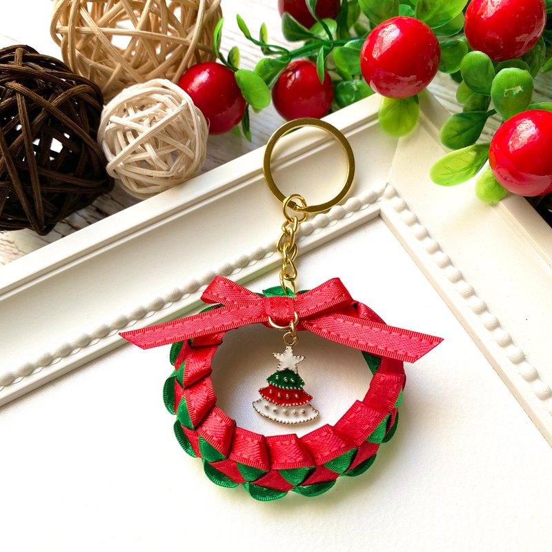 聖誕小花圈鑰匙圈吊飾 /聖誕紅+經典綠