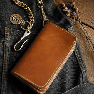 Biker long Wallet chain Genuine Leather Brown anchor Trucker Handmade Heavy men