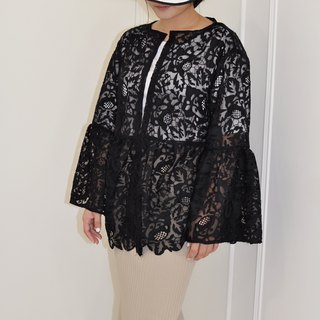 Flat 135 X Taiwan designer black mesh embroidery lace fabric short coat jacket lotus leaf sleeve