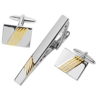 Silver and Gold Repp Stripe Cufflinks and Tie Clip Set