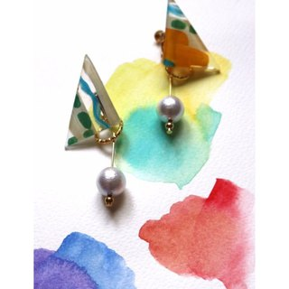 Sandwich Pearl Cotton Hand Painted Ear Clip Earrings