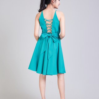 Jade Green Dress Crisscross Dress Short Party Dress Swing Skirt Summer Dress