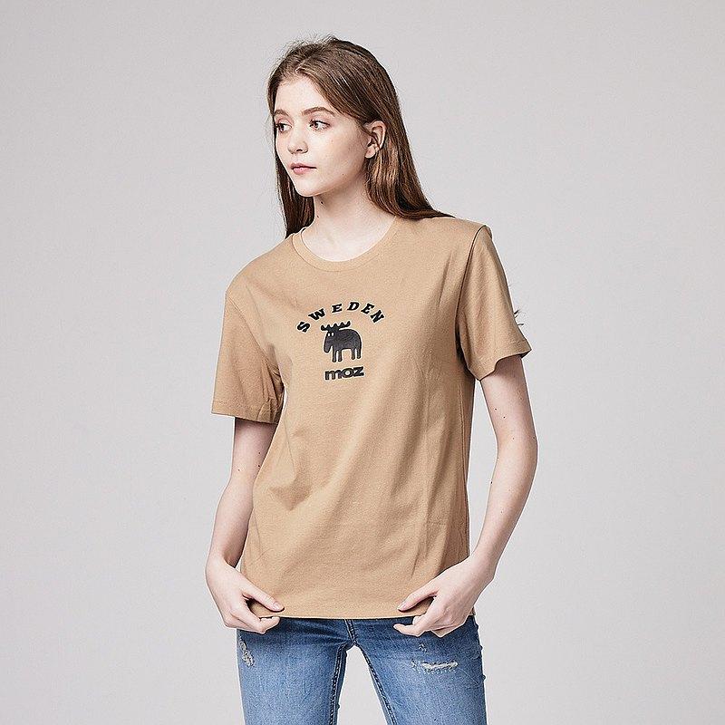 moz瑞典大環形駝鹿印花100%純棉短T-可可棕(亞洲版)女款
