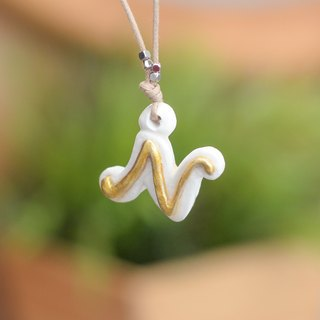 Alphabet letter N handmade necklace from Niyome Clay