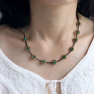 Chrysocolla Hand Woven Necklaces Daisy Flower Braided Beaded Brass Necklaces
