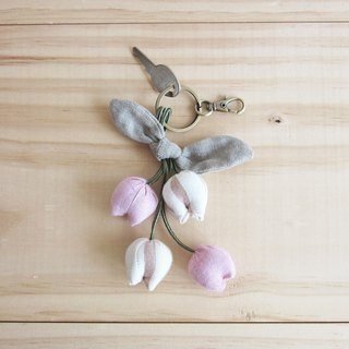 Handmade Four Tulips Key Chains Botanical Dyed Cotton