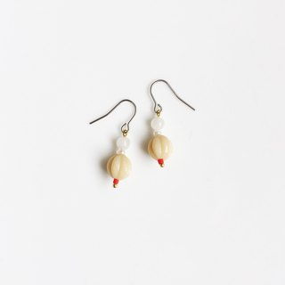 Milky natural stone glass beaded earrings
